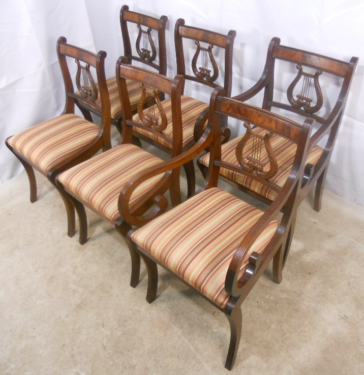 SOLD   Regency Style Mahogany Extending Dining Table And Matching Chairs By  Rackstraw